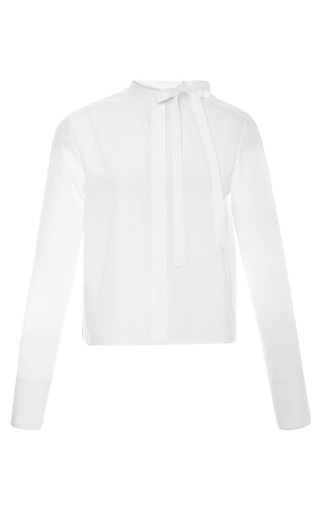 Bow Detailed Cotton Blouse by VALENTINO Now Available on Moda Operandi