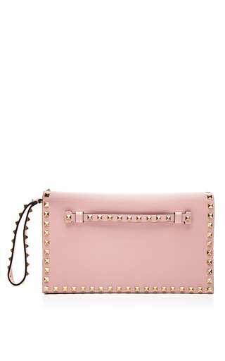 Medium valentino pink rockstud leather foldover clutch