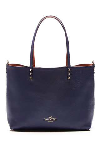 Medium valentino blue small rockstud reversible leather tote