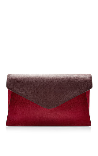 Medium valentino red absolute textured leather clutch