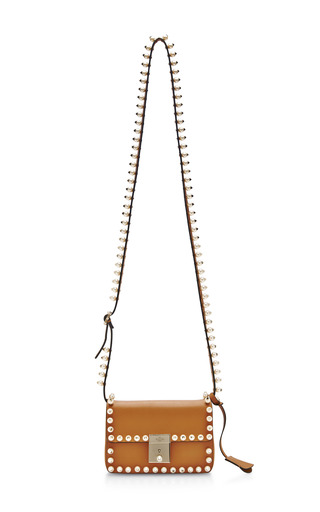 Medium valentino brown rockstud pearls and leather shoulder bag