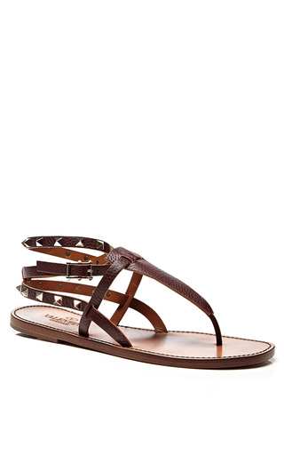 Rockstud Double Leather Sandals by VALENTINO Now Available on Moda Operandi