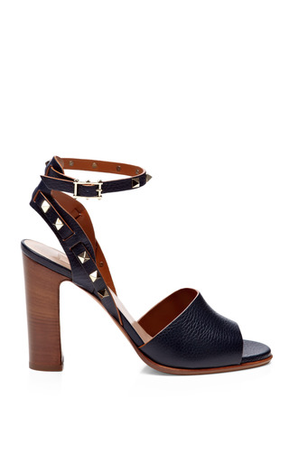 Medium valentino blue rockstud double textured leather sandals 2