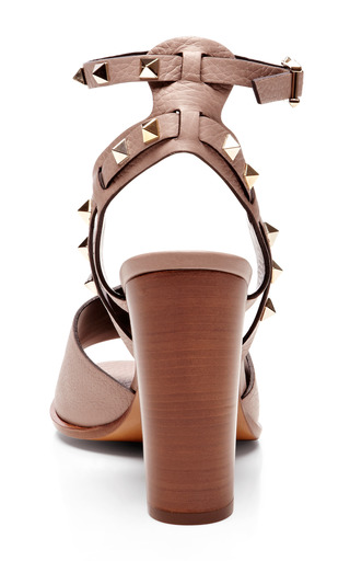 Rockstud Double Textured Leather Sandals by VALENTINO Now Available on Moda Operandi