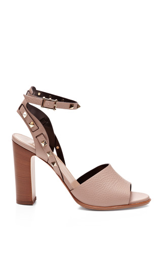 Medium valentino brown rockstud double textured leather sandals