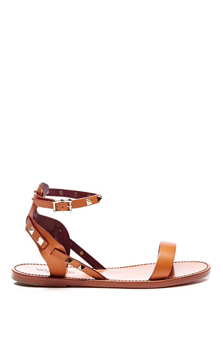 Medium valentino brown rockstud double leather sandals