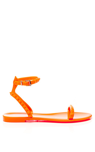 Medium valentino orange rockstud pvc jelly sandals