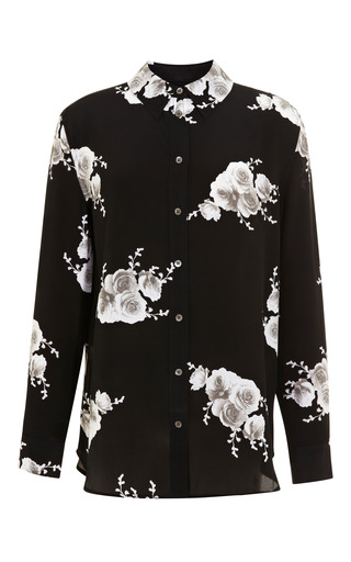 Medium equipment black reese floral print silk blouse