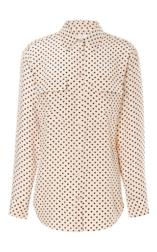 Medium equipment nude signature heart print silk blouse