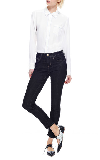 Brett Contrast Trim Washed Silk Shirt by EQUIPMENT Now Available on Moda Operandi