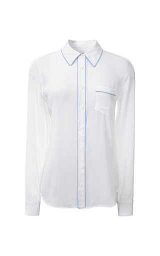 Medium equipment white brett contrast trim washed silk shirt