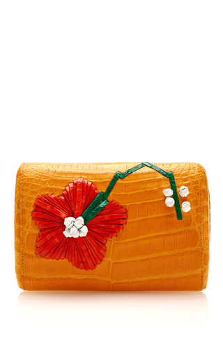 Medium nancy gonzalez multi clementine flower embroidered crocodile mini clutch