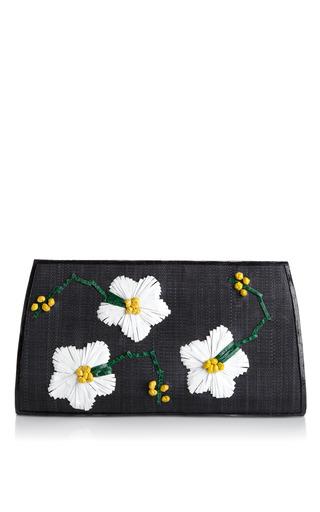 Medium nancy gonzalez green flower embroidered crocodile straw clutch