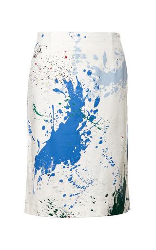 Medium tibi multi splotch splatter print stretch twill pencil skirt