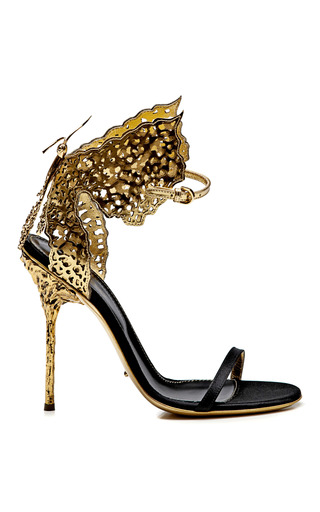 Medium sergio rossi gold butterfly cutout satin and metallic leather sandals