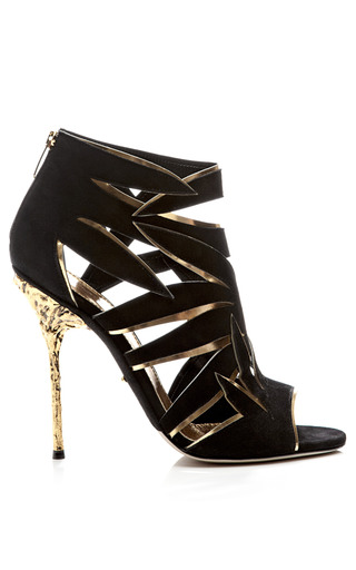 Medium sergio rossi black ramage suede and metallic leather sandals