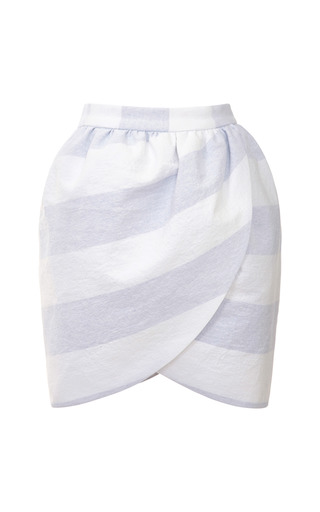 Medium harvey faircloth blue wide striped mini wrap skirt