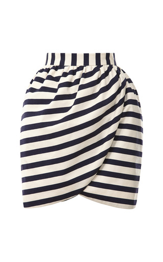 Medium harvey faircloth blue striped mini wrap skirt