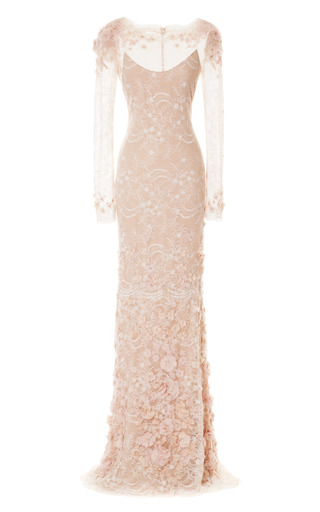 Medium marchesa pink stretch lace column gown with 3d chiffon flowers