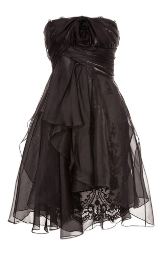 Medium marchesa black strapless re embroidered lace cocktail dress