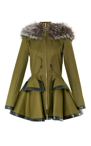 Medium prabal gurung green twill parka with fox fur