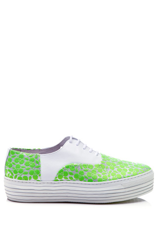 Medium joshua sanders green fluoro green trifoglio embroidered lace up sneakers with double sole