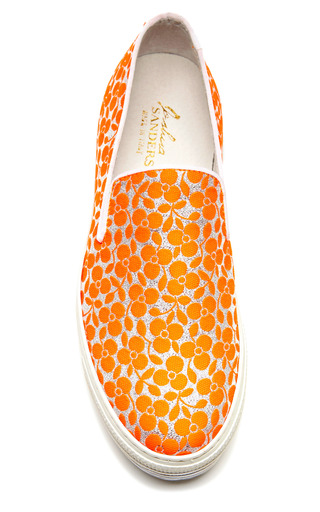 Fluoro Orange Trifoglio Embroidered Sneakers With Double Sole by JOSHUA SANDERS Now Available on Moda Operandi