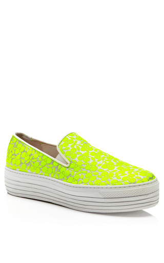 Fluoro Yellow Trifoglio Embroidered Sneakers With Double Sole by JOSHUA SANDERS Now Available on Moda Operandi