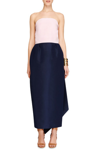 M'o Exclusive: Silk Faille Bow Back Dress by ROSIE ASSOULIN Now Available on Moda Operandi