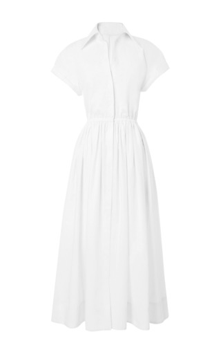 Medium rosie assoulin white exposed back midi shirt dress