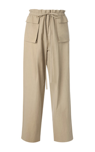 Medium rosie assoulin brown cotton and linen blend drawsting cargo pants