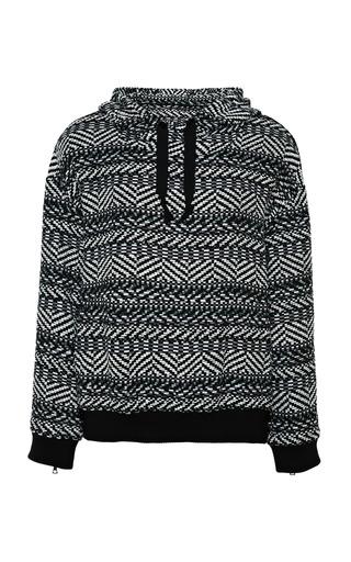 Medium sea dark grey grey aztec knit lace cut out hoodie