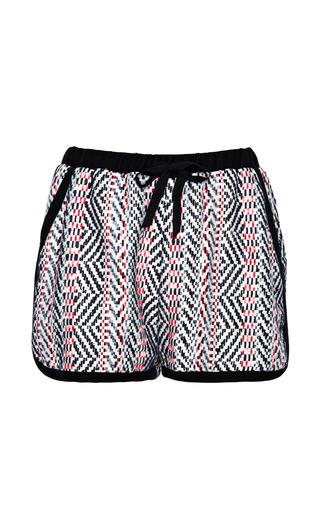 Medium sea red aztec knit trimmed shorts