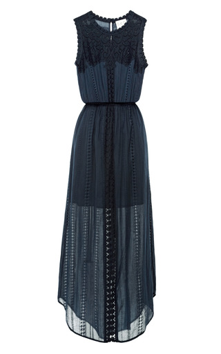 Medium sea navy navy cotton lace eyelet long dress