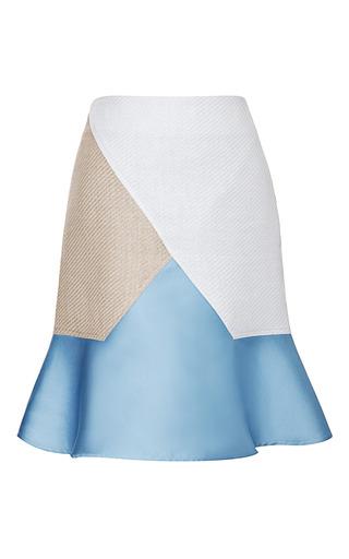 Medium ostwald helgason multi raffia and satin paneled flare skirt