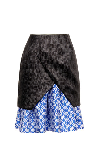 Medium ostwald helgason black raffia and satin jacquard pleated skirt