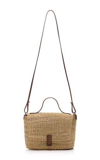 Medium muun tan medium flap over straw satchel