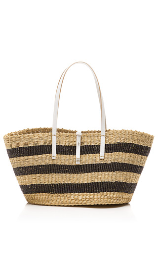 Medium muun multi medium stripe straw satchel