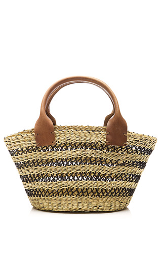 Medium muun multi mini stripe straw satchel