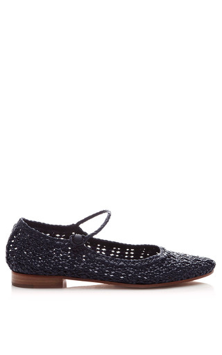 Medium pertini blue woven leather mary jane flats