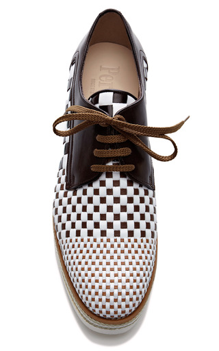 Combo Woven Lace Up Loafer On Raised Sole by PERTINI Now Available on Moda Operandi