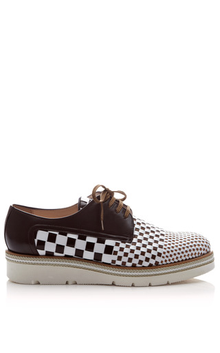 Medium pertini brown woven lace up leather loafers