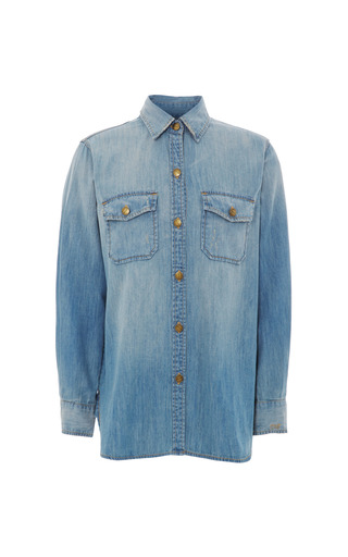 Medium current elliott blue cotton denim shirt