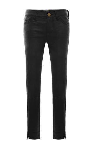 Medium current elliott black leather side slit stiletto jeans