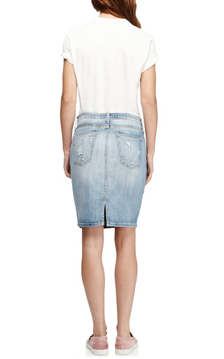 Stiletto Distressed Denim Skirt by CURRENT/ELLIOTT Now Available on Moda Operandi