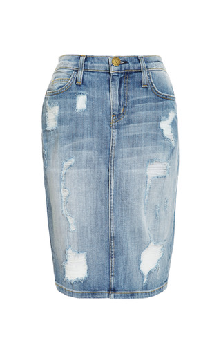 Medium current elliott blue stiletto distressed denim skirt