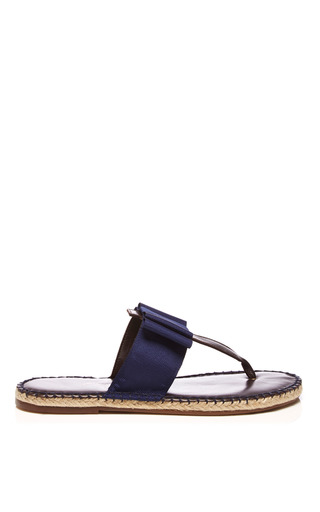 Medium escadrille blue grosgrain and leather thong sandals 2