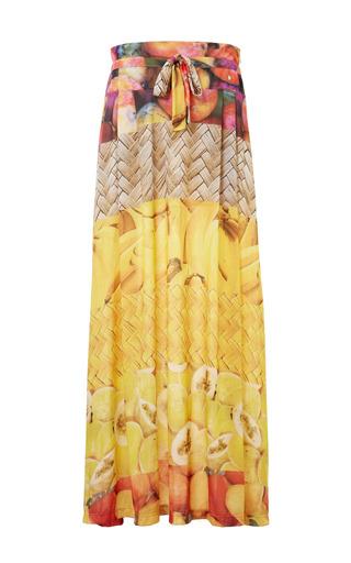 Medium agua de coco brown cashew polyester long skirt