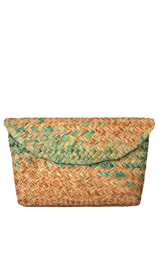 Medium kayu pink green ombre straw clutch