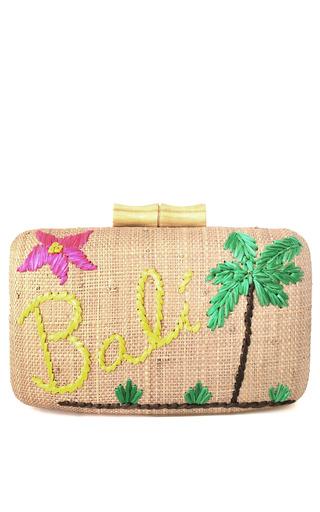 Embroidered raffia bali clutch by kayu moda operandi